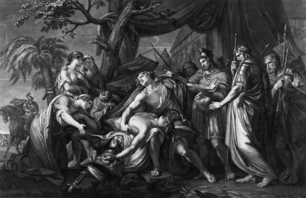 Achilles laments the death of Patroclus, engraved by Domenico Cunego, 1764 (engraving)